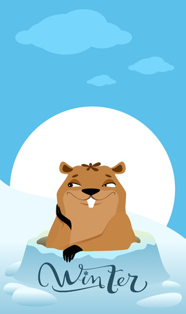 Groundhog Day. Marmot makes forecast winter. Vector cartoon illustration