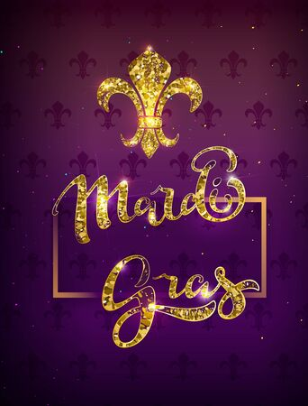 Golden lily silhouette symbol festival mardi gras. Greeting card gold text decoration. Vector illustration Illustration