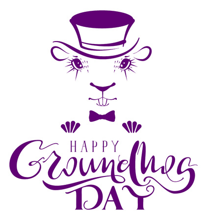 Happy Groundhog Day. Marmot silhouette lettering text for greeting card. Isolated on white vector illustration Illustration