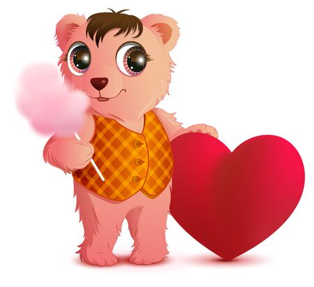 Pink fun bear holds sweet cotton wool and heart shape. Valentines day greeting card. Isolated on white vector carton illustration