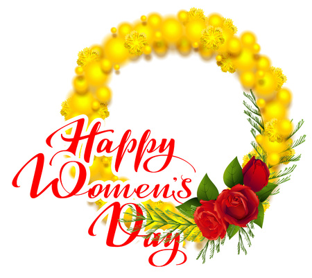 Happy womens day text greeting card. Yellow mimosa and red rose flower. Acacia flower wreath symbol of International Womens Day. Isolated on white vector illustration Illustration