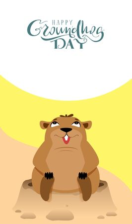 Happy Groundhog Day lettering text greeting card. Funny marmot sits and looks up. Vector cartoon illustration Illustration