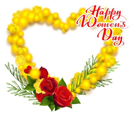 Happy Womens Day March 8 text. Yellow mimosa and red rose wreath heart shape greeting card. Vector illustration isolated on white background Illustration