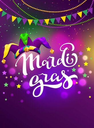 Banner for carnival mardi gras. Garland flag, handwritten text and clown cap symbol of masquerade. Vector cartoon illustration for party mardi gras fatty tuesday