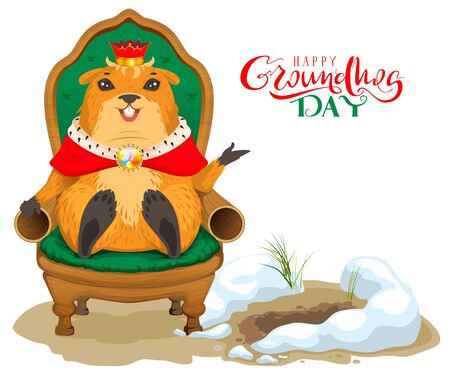 Happy groundhog day card with outline cute groundhog or marmot 93966856 happy groundhog day greeting card marmot king sitting on throne chair isolated on white fun vector cartoon illustration m4hsunfo