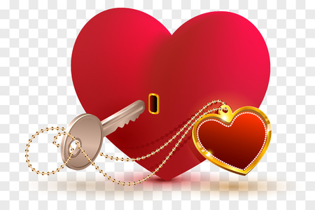 Love is key to heart of your beloved. Red heart shape lock and key. Isolated on transparent background vector illustration Çizim