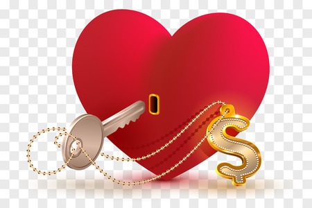 Money dollar is key to heart of your beloved. Red heart shape lock and key with key ring home. Isolated on transparent background vector illustration Banco de Imagens - 94112899