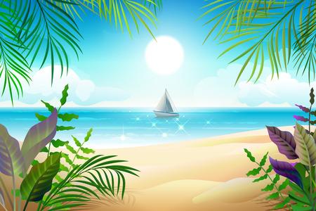 Paradise tropical beach landscape. Coastline, palm leaves, blue sea and sky. Vector cartoon illustration