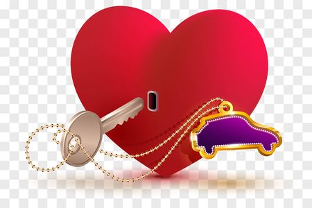 New car is key to heart of your beloved. Red heart shape lock and key. Isolated on transparent background vector illustration