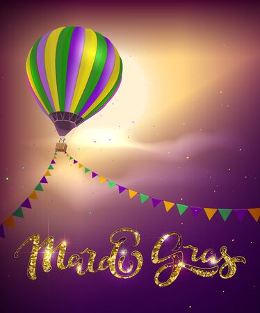 Balloon and decoration garland flag for Mardi Gras carnival Fat Tuesday. Vector illustration template greeting card text