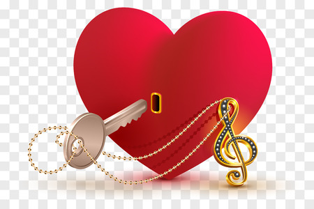 Musical treble clef key to open love heart lock shape. Isolated on transparent background vector illustration Ilustrace