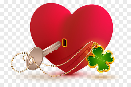 Red heart shaped lock and key with lucky leaf clover. Vector cartoon illustration on transparent background