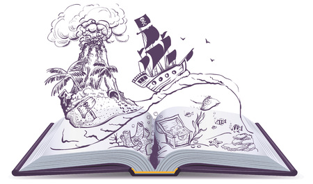Open book about pirates and treasure. Ship sailboat pirate swims on waves. Treasure island. Isolated on white vector cartoon education illustration