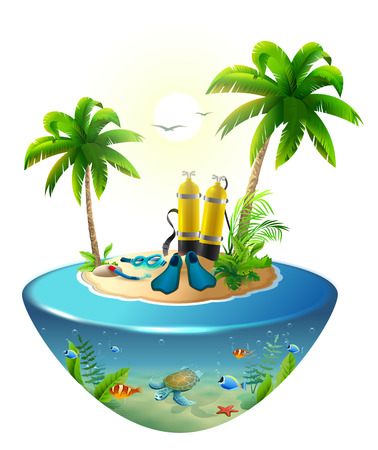 Diving in tropical sea off paradise island. Beach vacation, palm tree, diving mask, oxygen tank, fin, underwater world. Isolated on white vector cartoon illustration