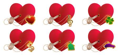 Key love is to open heart shaped lock. Valentines day heart symbol love. Isolated on white set vector icon illustration Illustration