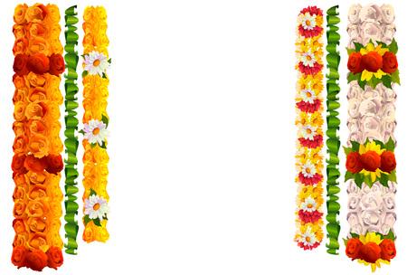 De bloemenslinger nam en bladeren voor Indische traditionele vakantieugadi toe. Geïsoleerd op witte vectorillustratie Stock Illustratie