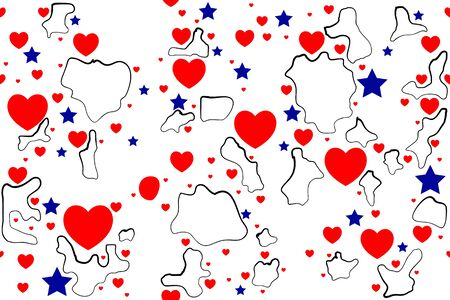 Abstract seamless background heart shape and star. Vector illustration Иллюстрация