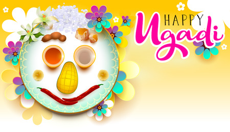 Happy Ugadi text. Traditional indian holiday food. Vector illustration greeting card