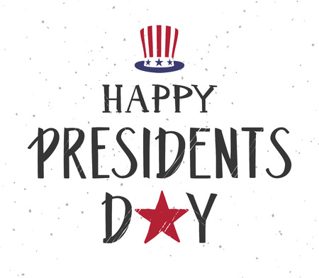 Happy presidents day text. Uncle's Sam hat symbol usa. Vector illustration greeting card banner