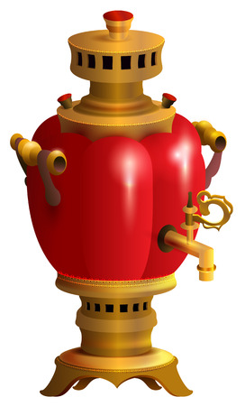 Red samovar traditional Russian kitchenware. Russian retro kettle. Isolated on white vector illustration 일러스트