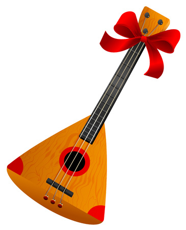 Balalaika Russian retro national traditional musical instrument. Stringed musical instrument. Isolated on white vector cartoon illustration