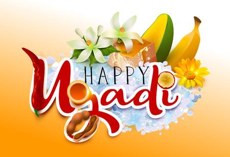 Happy Ugadi. Template greeting card traditional festive Indian food. Vector cartoon illustration