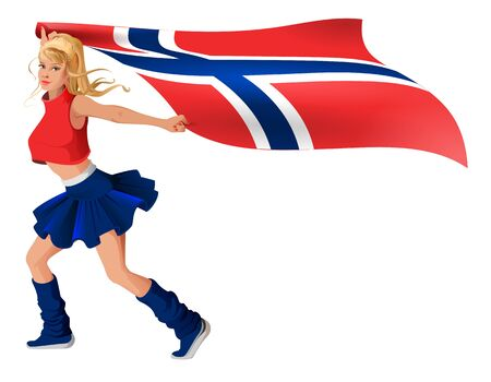 Blonde girl fan holding flag of Norway. Isolated on white vector cartoon illustration Illustration