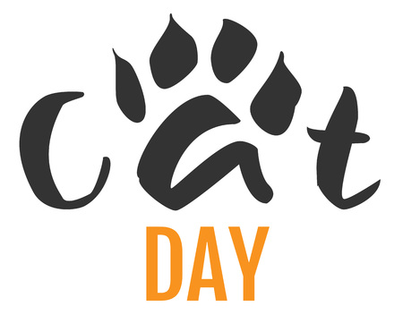 A Cat day text feline footprint silhouette isolated on white Vector cartoon illustration