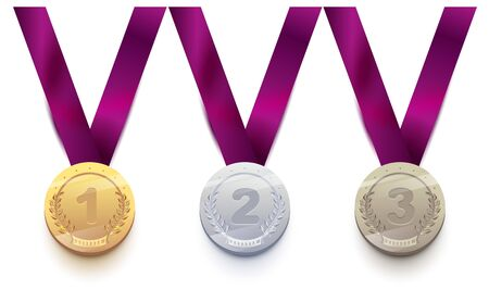 Set sport medal: gold, silver, bronze. Isolated on white vector illustration