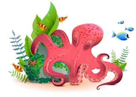 Polpo rosso del mondo subacqueo e pesci colorati. Isolato sull'illustrazione bianca del fumetto di vettore