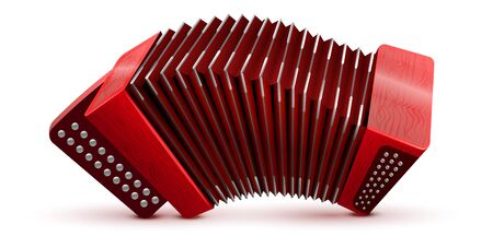 Russian and French accordion national musical instrument. Isolated on white vector illustration