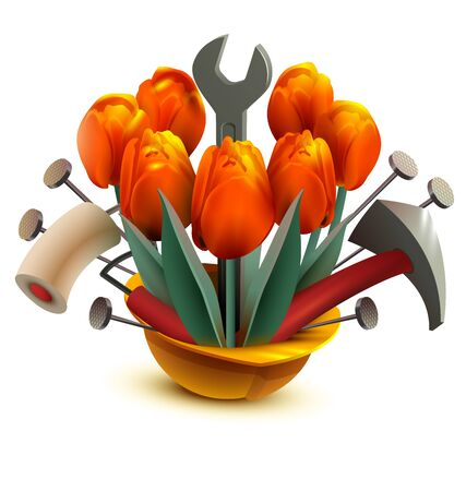 Building helmet with flowers and work tools. Isolated on white vector cartoon illustration