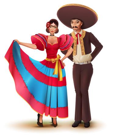 Joven mujer y hombre en ropa tradicional nacional mexicana. Aislado en blanco ilustración de dibujos animados de vectores.