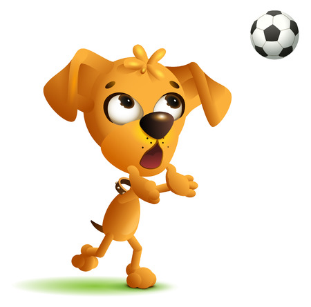 Funny yellow dog goalkeeper catches soccer ball. Isolated on white, vector cartoon illustration.