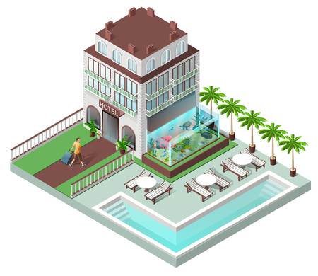 Tourist hotel and sun loungers by pool. Vector isometric illustration