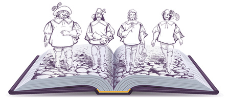 Open book historical novel illustration about three musketeers. Four friends are walking along road