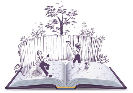 Tom Sawyer paints fence open book illustration. Vector isolated on white
