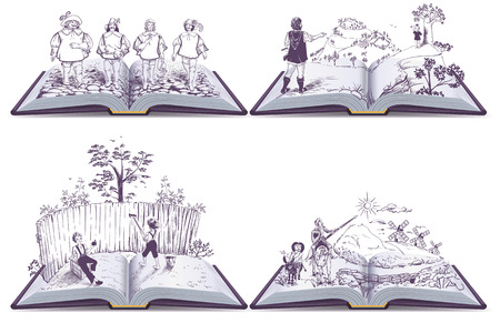 Set open book illustration musketeers, Tom Sawyer and Don Quixote. Vector isolated on white Vettoriali