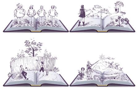 Stellen Sie offene Buchillustration Musketiere, Tom Sawyer und Don Quijote. Vektor lokalisiert auf Weiß Vektorgrafik