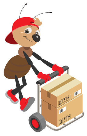 Ant loader rolls cart with cardboard boxes. Isolated on white vector cartoon illustration