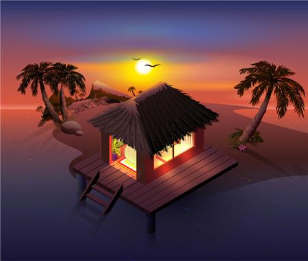 Night tropical island. Palm trees and shack on beach. Vector cartoon illustration