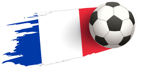 Flag of France and soccer ball of football symbol. Isolated on white vector illustration Foto de archivo - 102691751