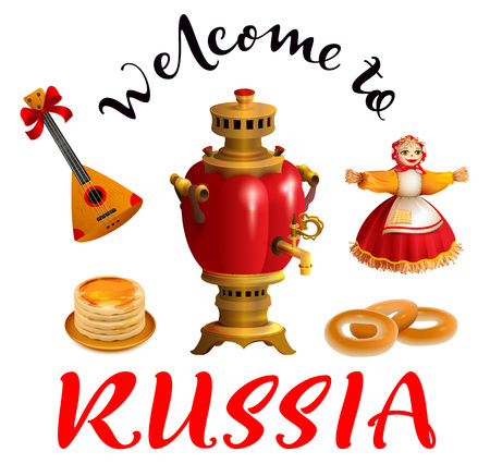 Welcome to Russia text. Set russian symbol and accessory samovar, balalaika, pancakes, nested doll. Isolated on white vector illustration Ilustração