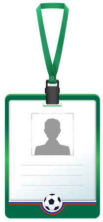 Green accreditation badge for soccer sports journalist. Isolated on white vector illustration