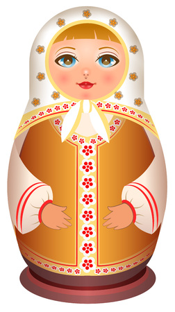 Russian girl wooden doll. Traditional national toy matryoshka. Isolated on white vector cartoon illustration