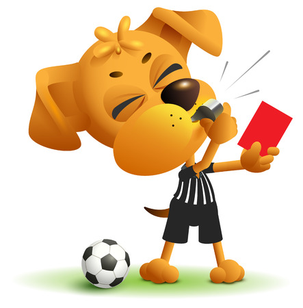Football referee Dog shows red card. Soccer arbiter whistles. Isolated on white vector cartoon illustration