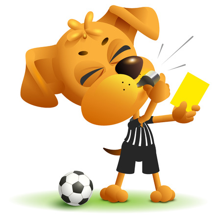 Referee dog shows yellow card. Violation of rules when playing soccer. Illustration