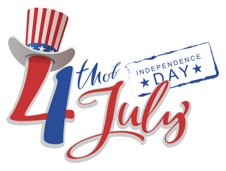July 4 Independence day text greeting card. Vector illustration