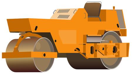 Caricature de compacteur d'asphalte rétro isolé sur blanc. Illustration vectorielle Vecteurs