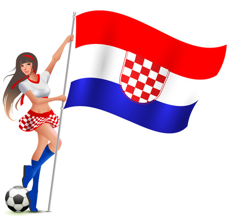 Croatian girl fan rejoices in victory soccer and holds flag. Isolated on white vector cartoon illustration